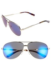 Men's Marc By Marc Jacobs 60Mm Stainless Steel Aviator Sunglasses Gold Grey Mirror Blue