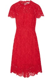 Diane Von Furstenberg Alma Cutout Corded Lace Dress Red