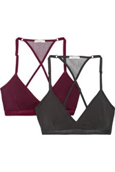 Skin Corinna Set Of Two Stretch Organic Pima Cotton Jersey Soft Cup Bras Charcoal