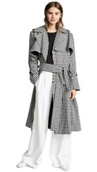 Maggie Marilyn Be Strong And Courageous Trench Black Cream Check Herringbone