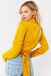 Urban Outfitters Uo Jacquard Tie Wrap Top Yellow