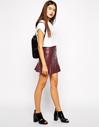 Goldie Get Lucky Faux Leather Skirt With Peplum Hem Berry