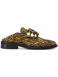 Coliac Fergy Striped Print Mules Brown