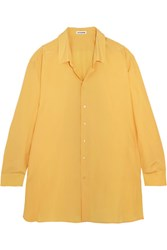 Jil Sander Oversized Silk Crepe De Chine Shirt Yellow