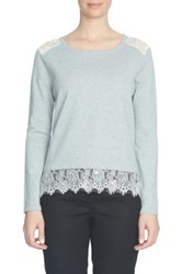 Cynthia Steffe Lace Trim Crew Neck Sweater Gray
