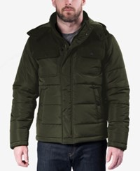 Hawke And Co. Outfitter Men's Quilted Mixed Media Puffer Jacket Deep Olive