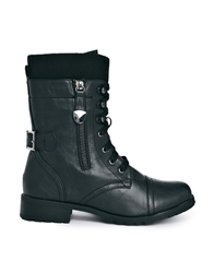 Truffle Collection Truffle Lace Up Cuff Boots Black