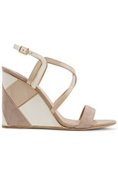 Salvatore Ferragamo Color Block Paneled Suede And Patent Leather Wedge Sandals Taupe