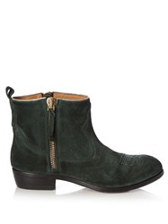 Golden Goose Anouk Western Distressed Suede Ankle Boots Green