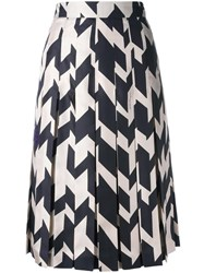 Salvatore Ferragamo Printed Pleated Skirt Black