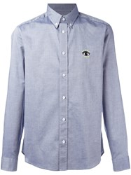 Kenzo Eye Denim Button Down Shirt Blue