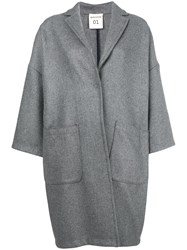 Semicouture Oversize Buttoned Coat Grey