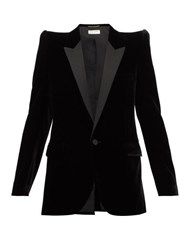 Saint Laurent Pagoda Shoulder Satin Lapel Velvet Blazer Black