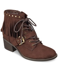 Indigo Rd. Kade Fringe Lace Up Buckle Booties Women's Shoes Dark Brown