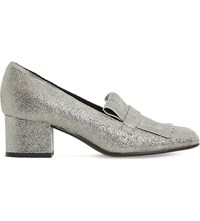 Dune Argyll Fringe Detail Metallic Leather Courts Silver Metallic