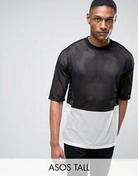 Asos Tall Oversized T Shirt In Monochrome Mesh Fabric With Half Sleeve Black White