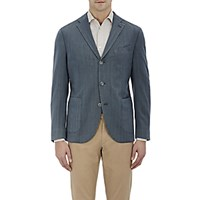 Boglioli Men's Herringbone Three Button Sportcoat Blue