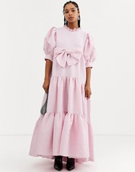 Sister Jane Dream Tiered Volume Maxi Dress With Bow Front In Heart Jacquard Pink