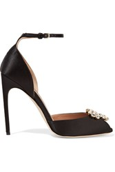 Brian Atwood Oriana Crystal Embellished Satin Sandals Black