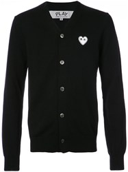 Comme Des Garcons Play Cardigan With White Heart Wool M Black