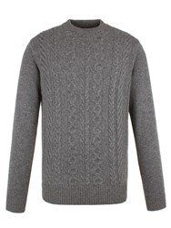 Ben Sherman Men's The Cable Front Crew Neck Grey