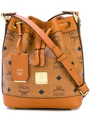 Mcm Logo Bucket Shoulder Bag Brown