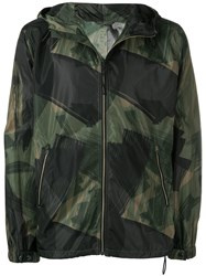 Closed Abstract Print Hooded Jacket Green