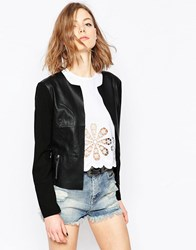 Only Pu Jacket With Contrast Sleeves Black