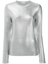 Paco Rabanne Metallic Grey Long Sleeve T Shirt Women Polyester Spandex Elastane Viscose L