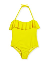 Milly Minis Ruffle Top One Piece Swimsuit Size 4 7 Yellow