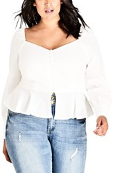 City Chic Plus Size Classic Button Top Ivory