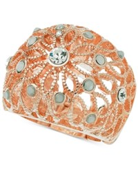 Guess Rose Gold Tone Crystal And Stone Filigree Stretch Ring