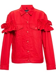 Simone Rocha X J Brand Campbell Denim Jacket With Ruffle Details Red