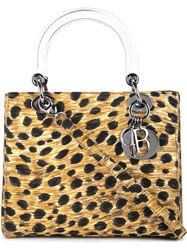 Christian Dior Vintage Leopard Pattern Lady Tote Brown