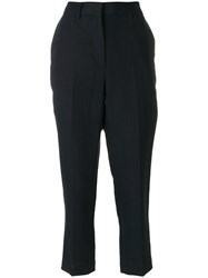 Margaret Howell Cropped Tailored Trousers Linen Flax Blue