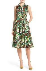 Women's Chetta B Floral Sateen Fit And Flare Shirt Dress