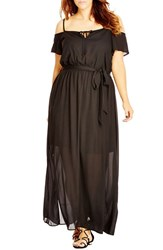 City Chic Plus Size Women's Cold Shoulder Maxi Dress Black
