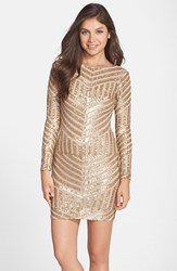 Women's Dress The Population 'Lola' Sequin Body Con Dress Brushed Gold
