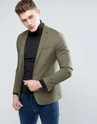 Asos Skinny Blazer In Khaki Cotton Khaki Green