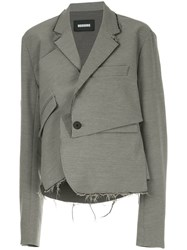 Moohong Deconstructed Draped Blazer Grey