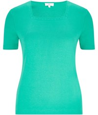 Cc Embroidered Square Neck Jersey Top Emerald