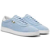 Aprix Leather Trimmed Suede Sneakers Sky Blue