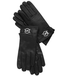 Michael Michael Kors Leather With Logo Trim Gloves Black With Silver