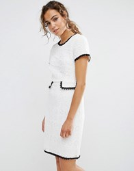 Darling Textured Shift Dress With Contrast Trim Cream Black