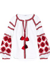 March11 Geometry Embroidered Linen Blouse White Red