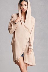 Forever 21 Hooded Wrap Jacket Taupe