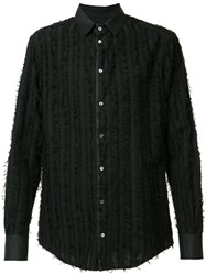 Tom Rebl Embroidered Shirt Men Cotton 48 Black