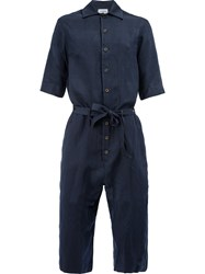 Song For The Mute Tie Waist Cropped Jumpsuit Men Cotton Polyester Rayon 46 Blue