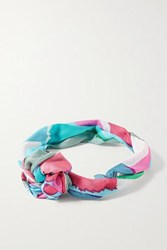 Cult Gaia Turband Printed Silk Gauze Headband Turquoise