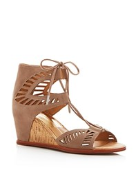 Dolce Vita Linsey Lace Up Cork Wedge Sandals Almond